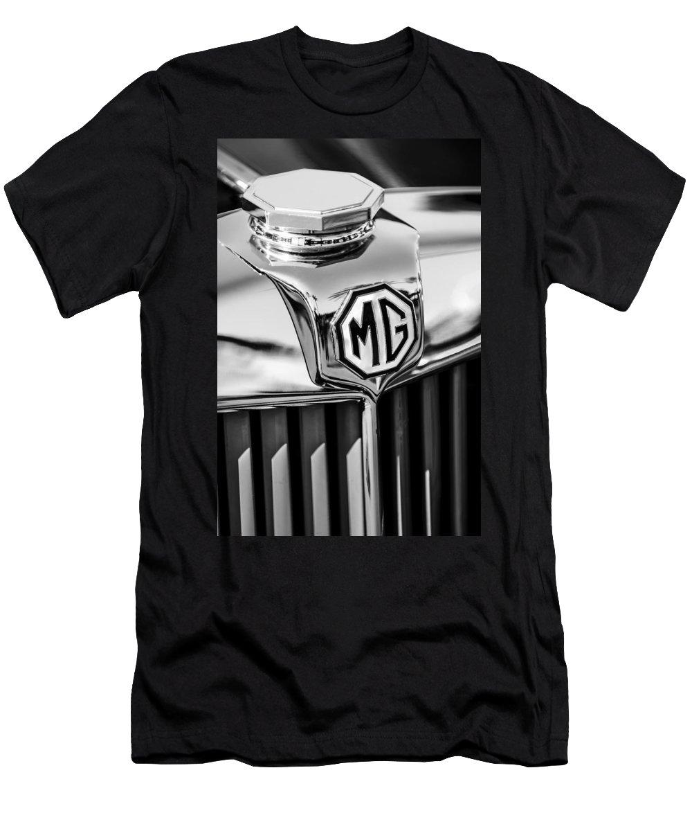 1948 Mg Tc Hood Ornament Men's T-Shirt (Athletic Fit) featuring the photograph 1948 Mg Tc Hood Ornament -767bw by Jill Reger