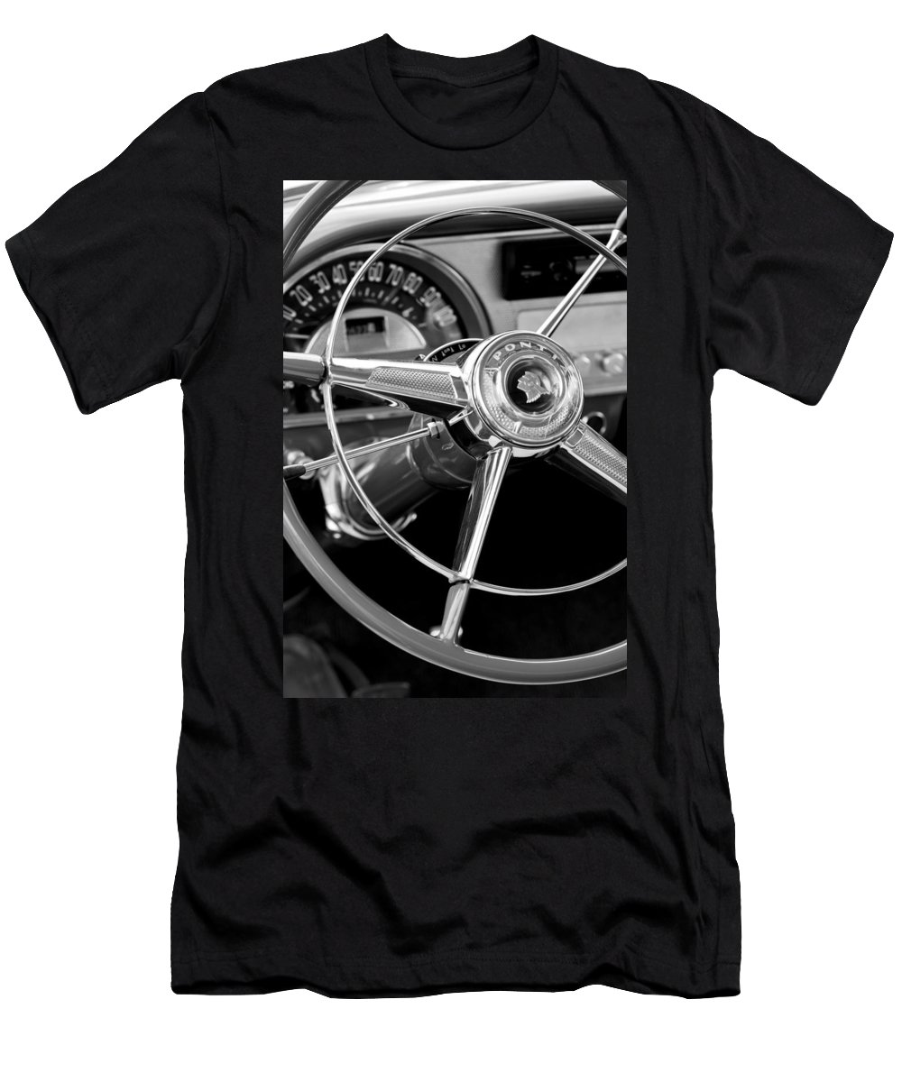 1953 Pontiac Men's T-Shirt (Athletic Fit) featuring the photograph 1953 Pontiac Steering Wheel 2 by Jill Reger