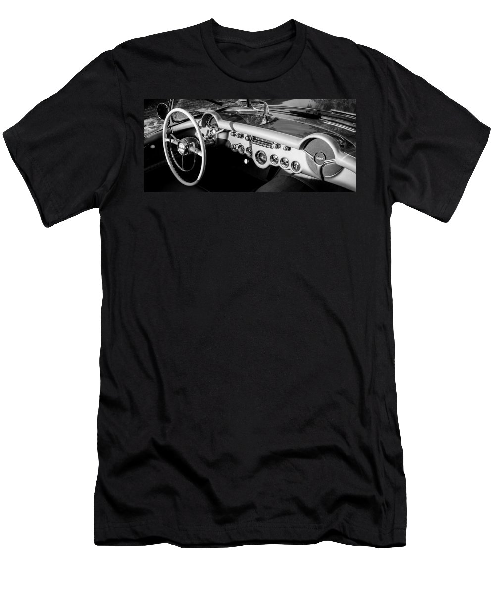 1954 Chevrolet Corvette Steering Wheel Men's T-Shirt (Athletic Fit) featuring the photograph 1954 Chevrolet Corvette Steering Wheel -502bw by Jill Reger