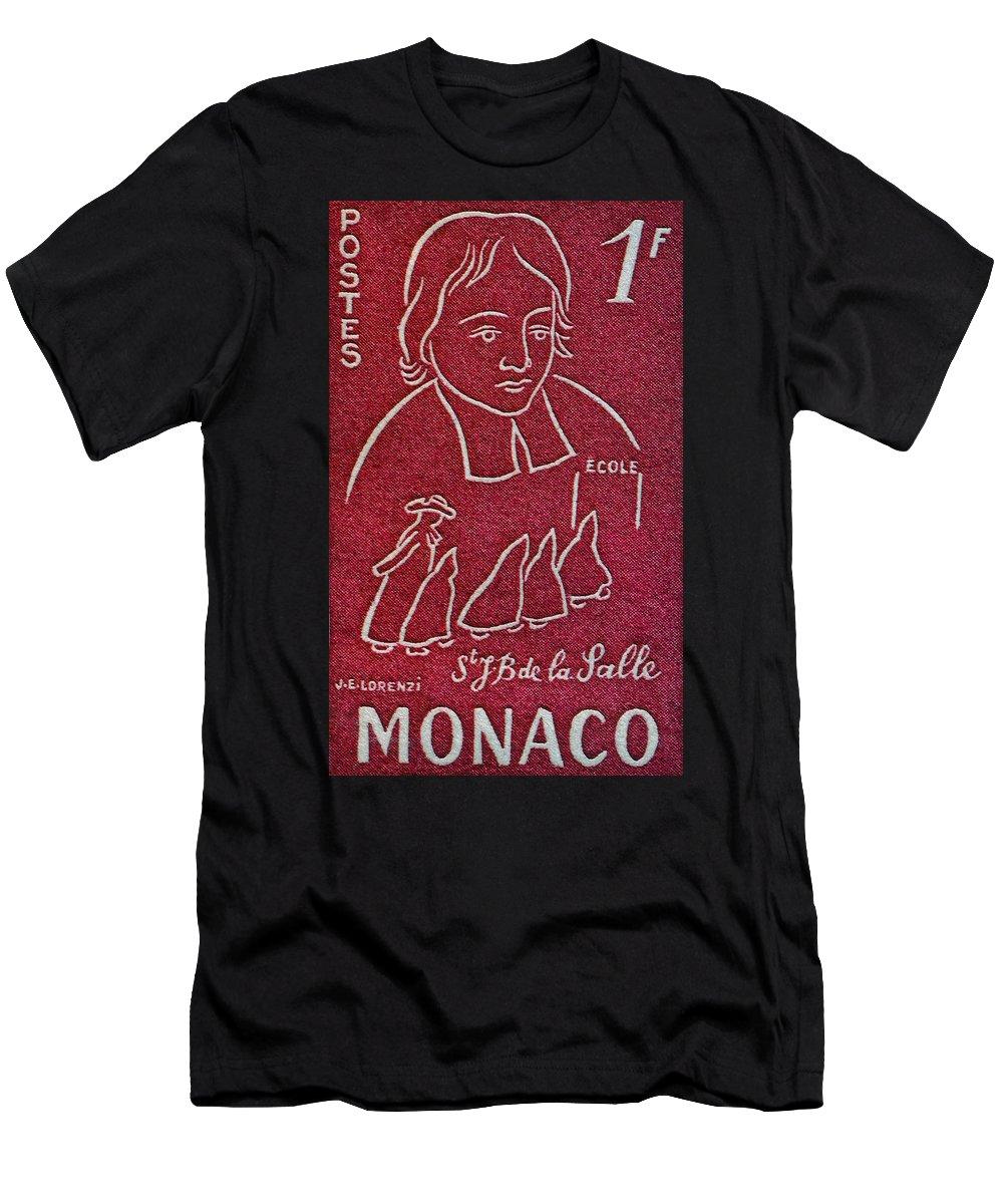 1954 Men's T-Shirt (Athletic Fit) featuring the photograph 1954 De La Salle Monaco Stamp by Bill Owen