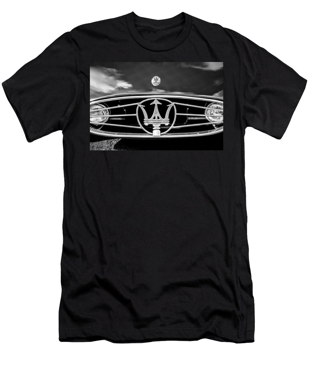 1954 Maserati A6 Gcs Grille Emblem Men's T-Shirt (Athletic Fit) featuring the photograph 1954 Maserati A6 Gcs Grille Emblem -0259bw by Jill Reger