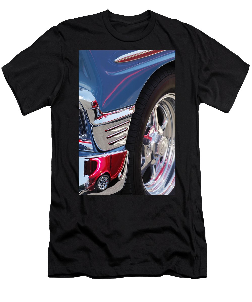 1956 Chevrolet Handyman Wagon Wheel Men's T-Shirt (Athletic Fit) featuring the photograph 1956 Chevrolet Handyman Wagon Wheel -179c by Jill Reger