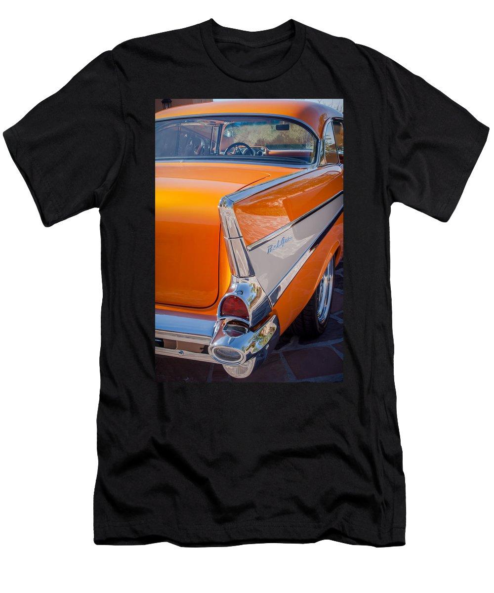 1957 Chevrolet Belair Taillight Emblem Men's T-Shirt (Athletic Fit) featuring the photograph 1957 Chevrolet Belair Taillight Emblem -019c by Jill Reger
