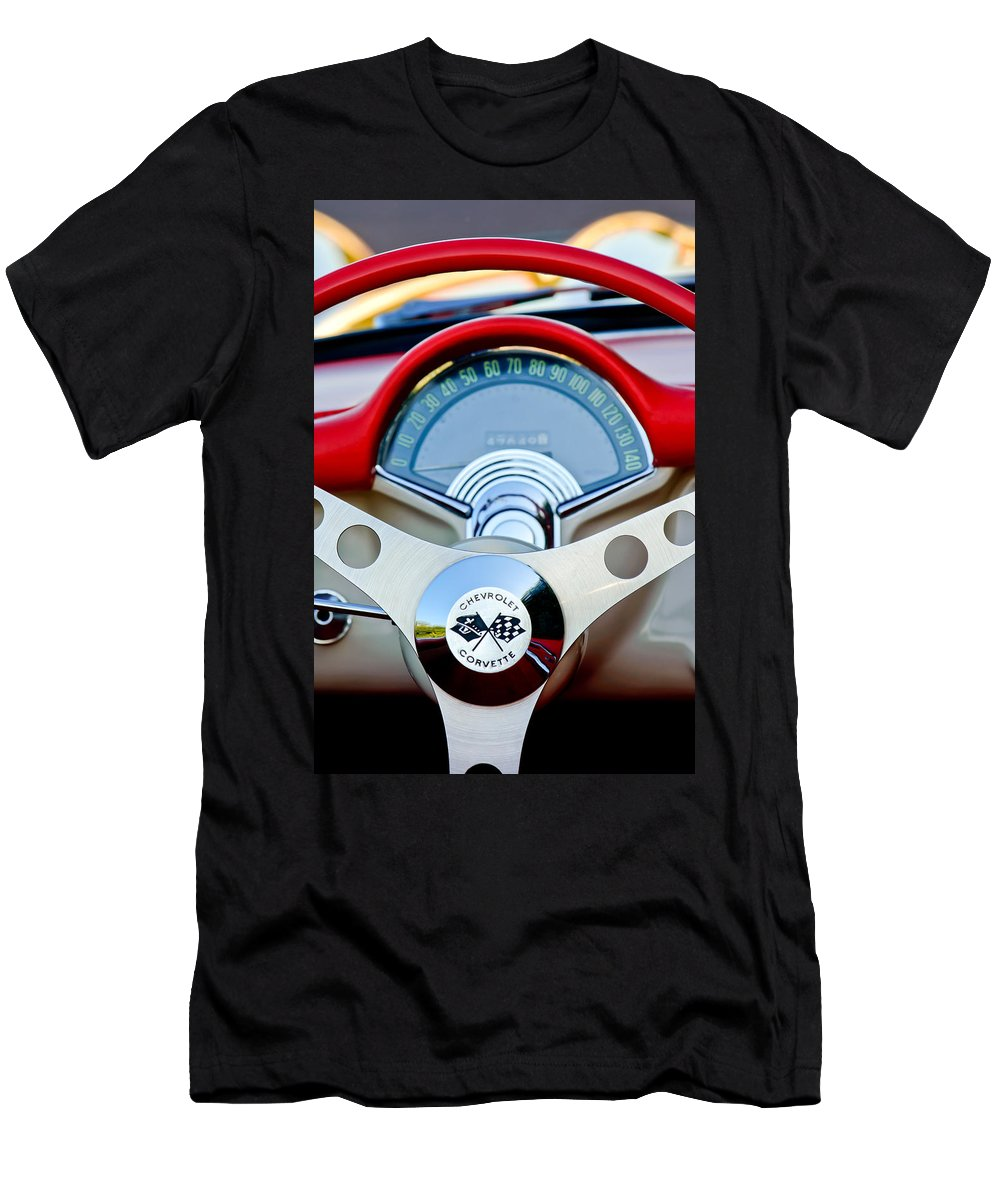 Car Men's T-Shirt (Athletic Fit) featuring the photograph 1957 Chevrolet Corvette Convertible Steering Wheel by Jill Reger
