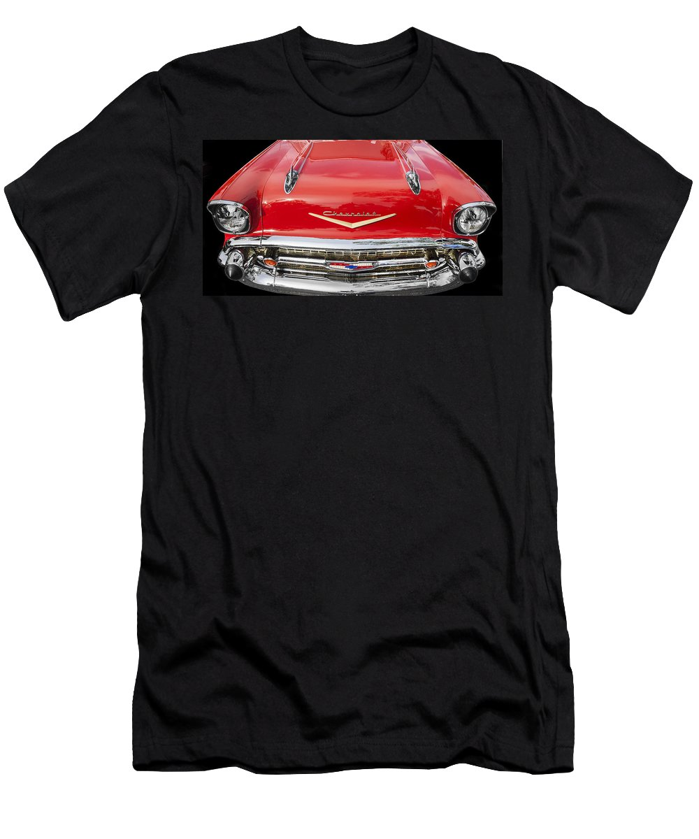 1957 Chevy Men's T-Shirt (Athletic Fit) featuring the photograph 1957 Chevy Front End by Rich Franco