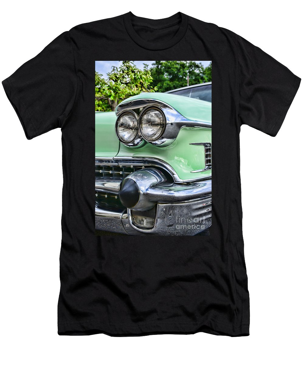 1958 Cadillac Head Lights Men's T-Shirt (Athletic Fit) featuring the photograph 1958 Cadillac Headlights by Paul Ward