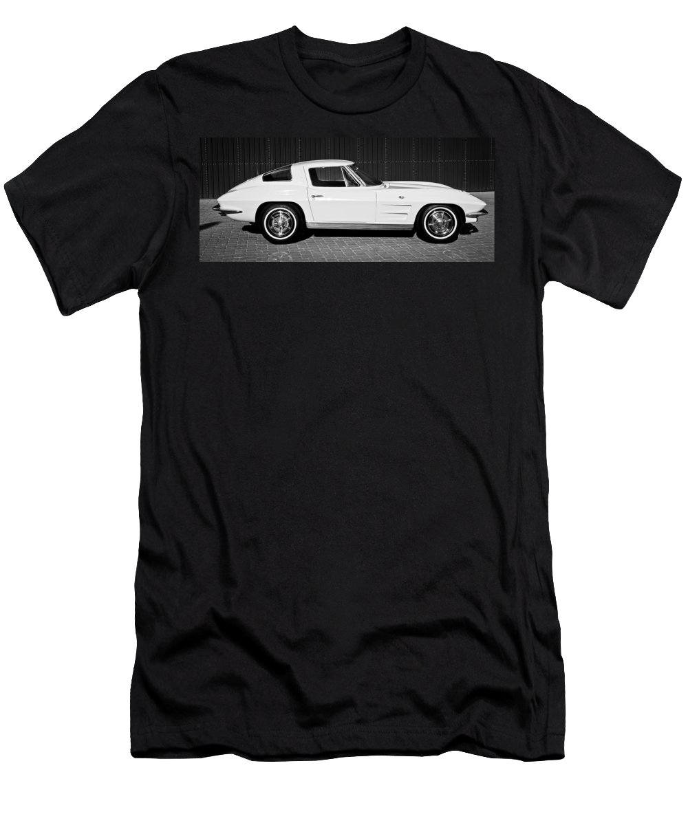 1963 Chevrolet Corvette Split Window Men's T-Shirt (Athletic Fit) featuring the photograph 1963 Chevrolet Corvette Split Window -575bw by Jill Reger