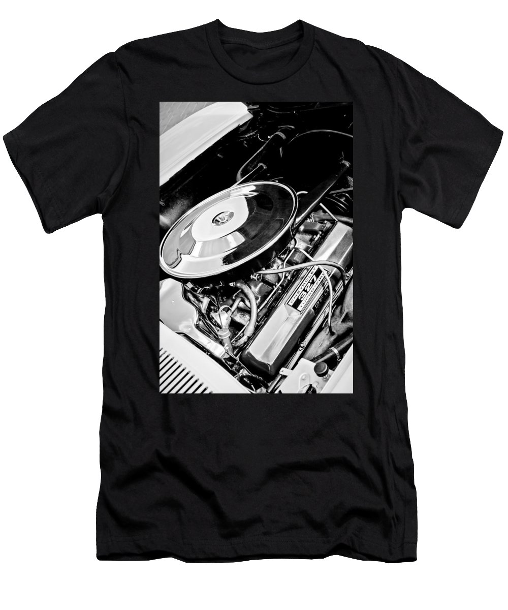 1963 Chevrolet Corvette Split Window Engine Men's T-Shirt (Athletic Fit) featuring the photograph 1963 Chevrolet Corvette Split Window Engine -147bw by Jill Reger