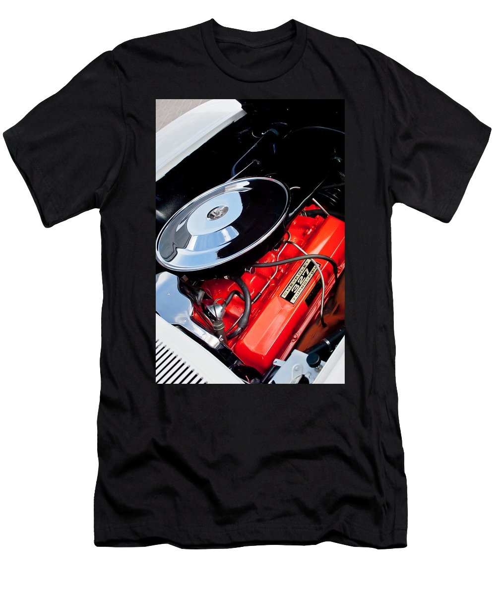 1963 Chevrolet Corvette Split Window Engine Men's T-Shirt (Athletic Fit) featuring the photograph 1963 Chevrolet Corvette Split Window Engine -147c by Jill Reger