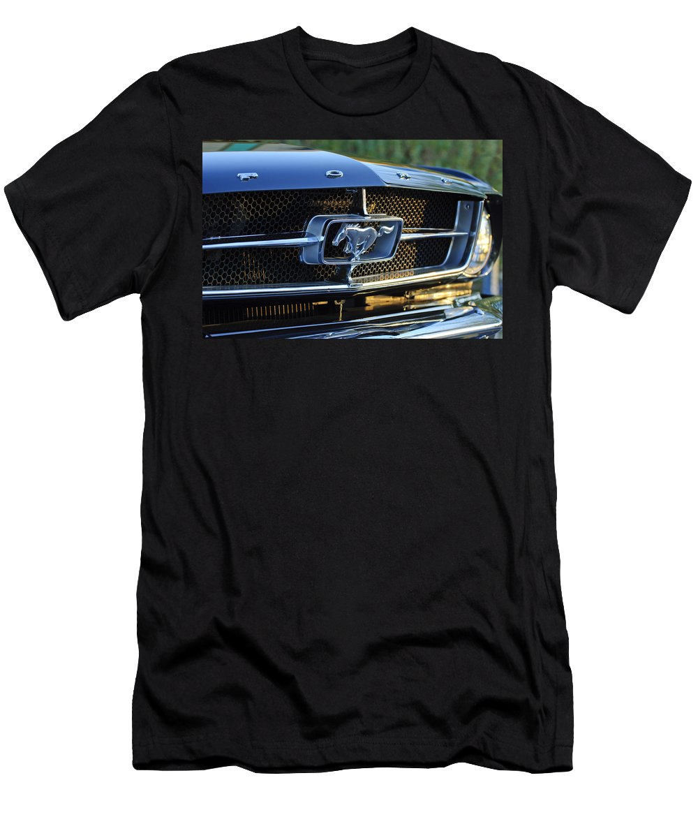 1965 Shelby Prototype Ford Mustang Men's T-Shirt (Athletic Fit) featuring the photograph 1965 Shelby Prototype Ford Mustang Grille Emblem by Jill Reger