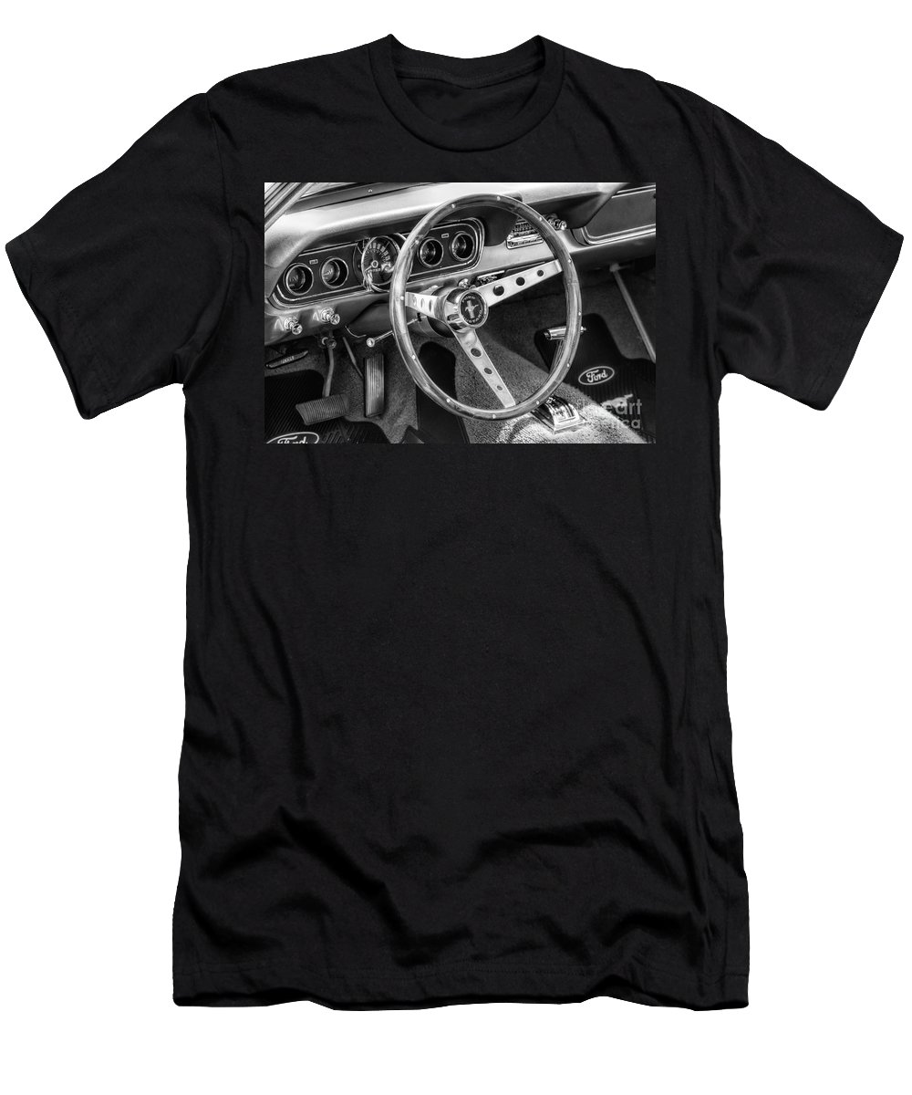 1966 Men's T-Shirt (Athletic Fit) featuring the photograph 1966 Mustang Dashboard Bw by Jerry Fornarotto