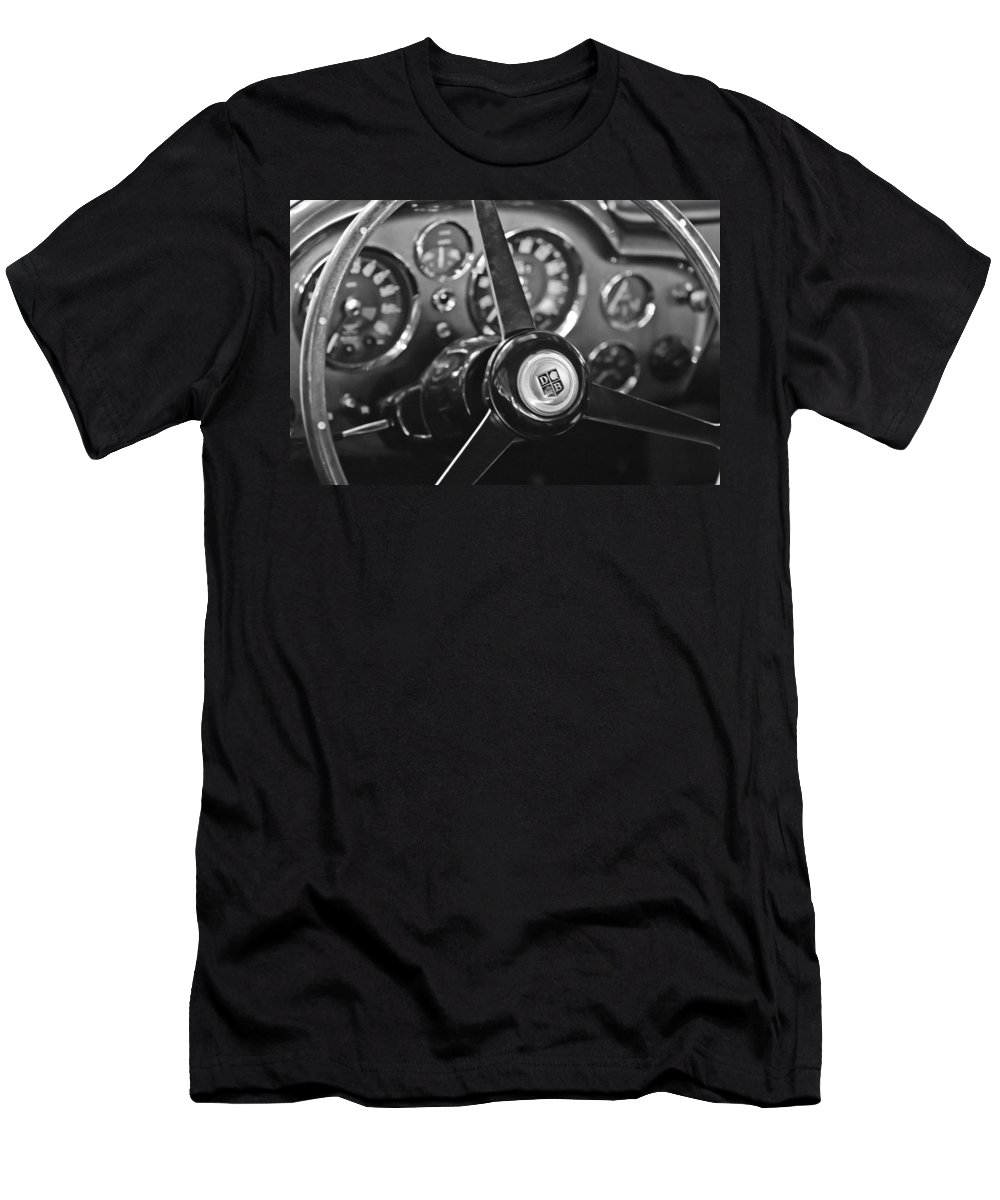 1968 Aston Martin Steering Wheel Emblem Men's T-Shirt (Athletic Fit) featuring the photograph 1968 Aston Martin Steering Wheel Emblem by Jill Reger