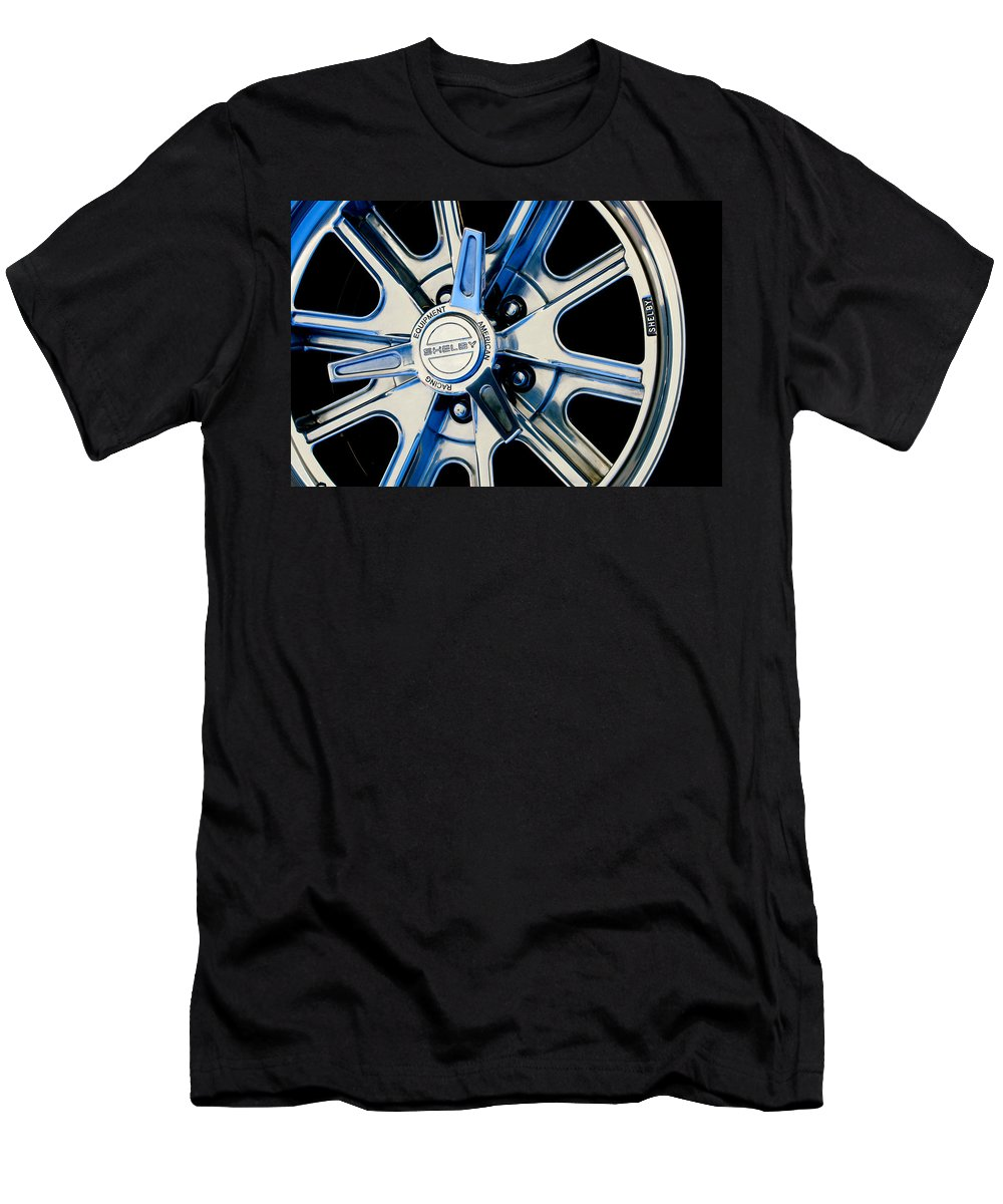 1968 Ford Mustang Fastback 427 Shelby Cobra Wheel Men's T-Shirt (Athletic Fit) featuring the photograph 1968 Ford Mustang Fastback 427 Shelby Cobra Wheel by Jill Reger