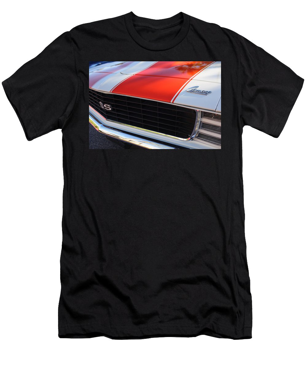 1969 Chevrolet Camaro Rs-ss Indy Pace Car Replica Grille Men's T-Shirt (Athletic Fit) featuring the photograph 1969 Chevrolet Camaro Rs-ss Indy Pace Car Replica Grille - Hood Emblems by Jill Reger