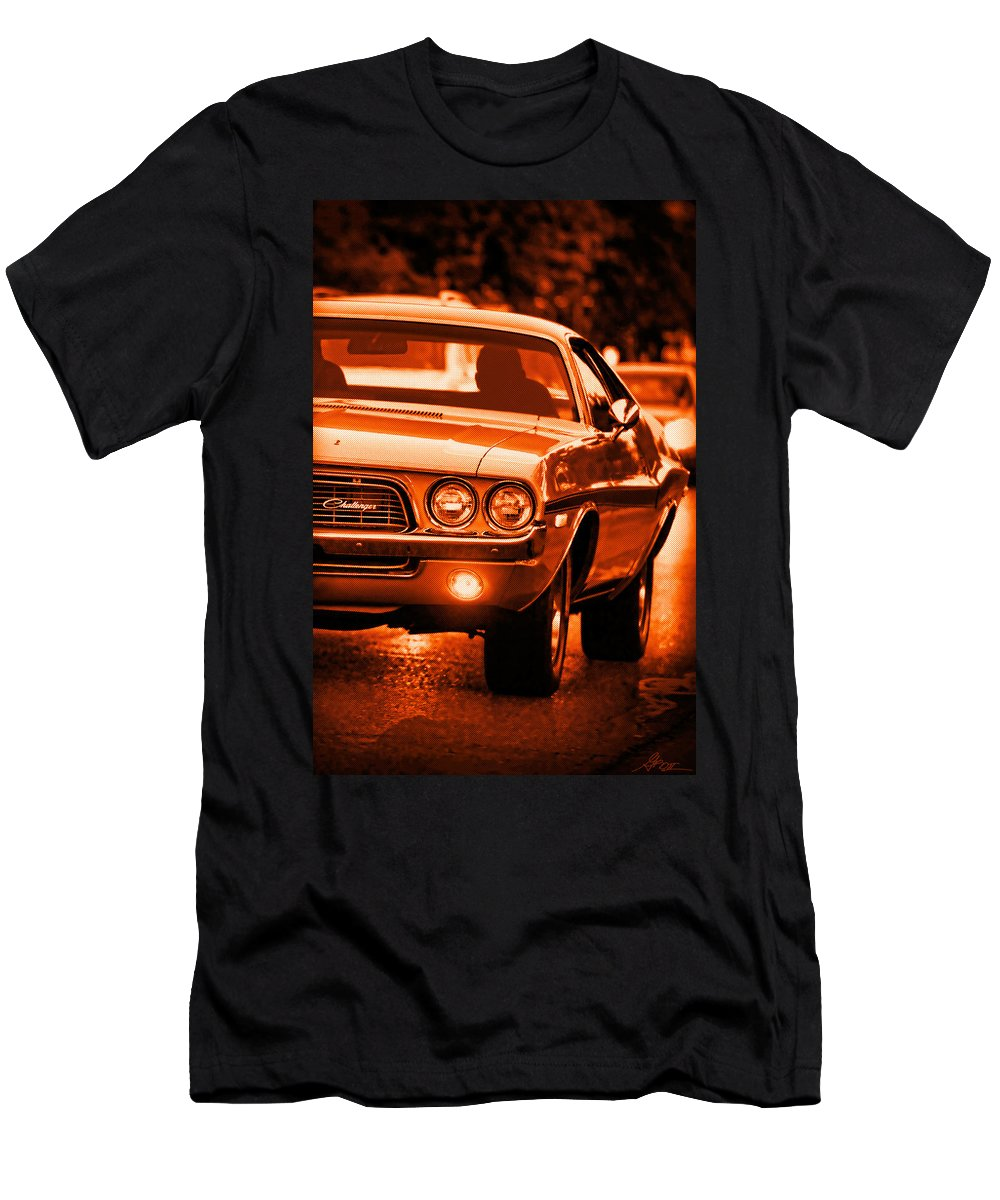 T-Shirt featuring the photograph 1972 Dodge Challenger In Orange by Gordon Dean II