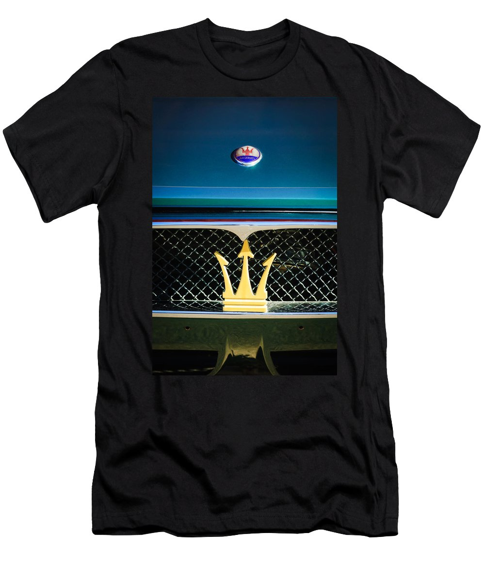 1972 Maserati Ghibli Grille Hood Emblems Men's T-Shirt (Athletic Fit) featuring the photograph 1972 Maserati Ghibli Grille - Hood Emblems by Jill Reger