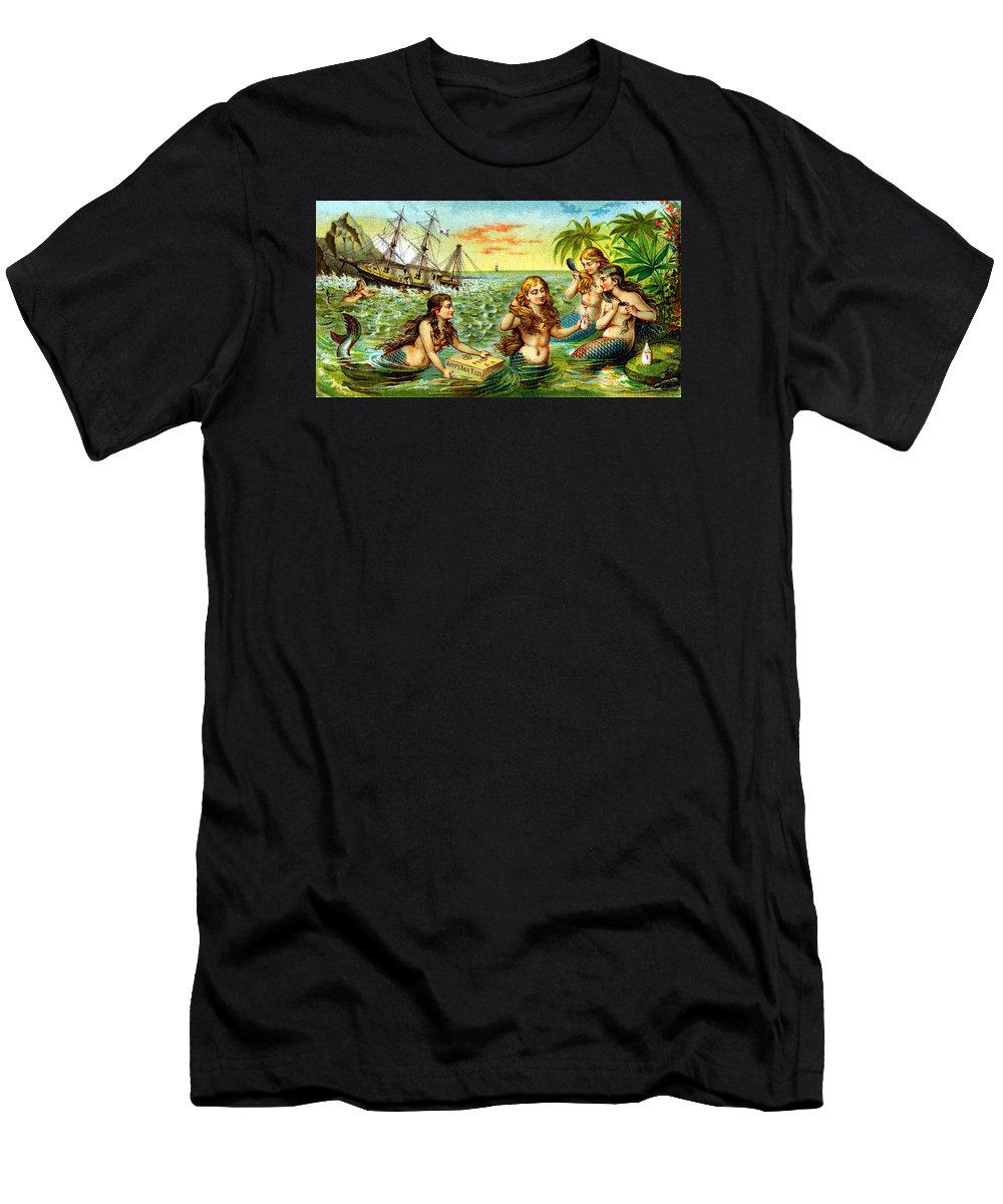 Vintage Men's T-Shirt (Athletic Fit) featuring the painting 19th C. Mermaids At Ship Wreck by Historic Image