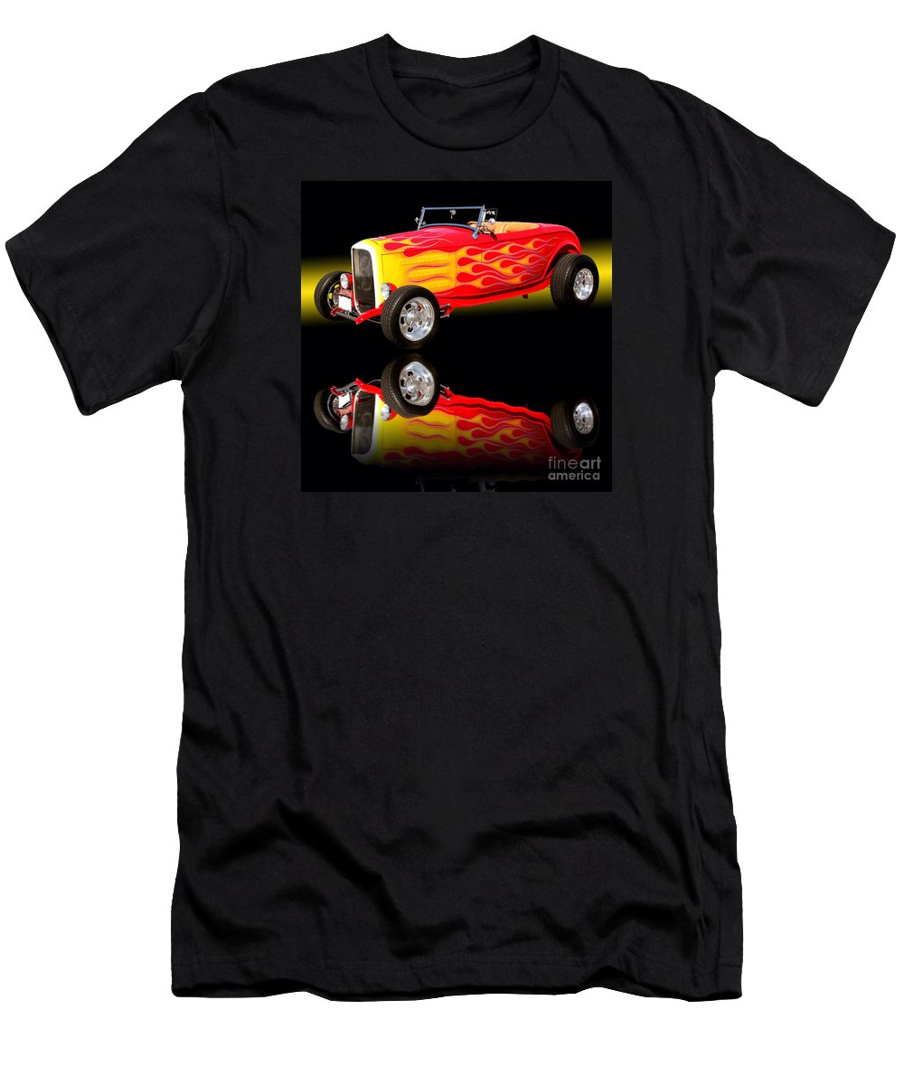 Car Framed Prints Men's T-Shirt (Athletic Fit) featuring the photograph 1932 Ford V8 Hotrod by Jim Carrell