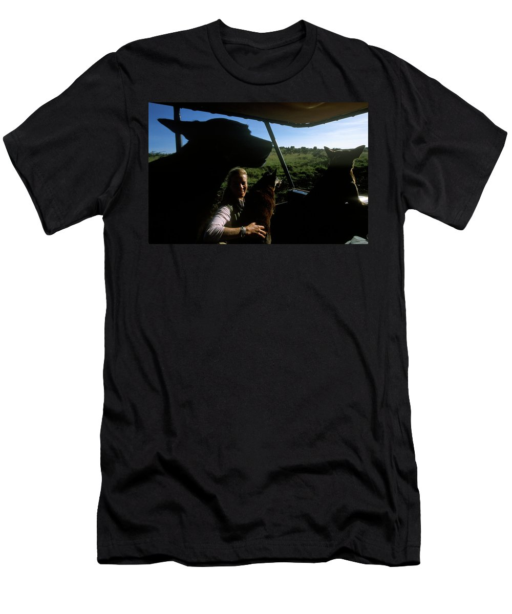 Color Image Men's T-Shirt (Athletic Fit) featuring the photograph A Woman Sits In Her Safari Jeep by David McLain