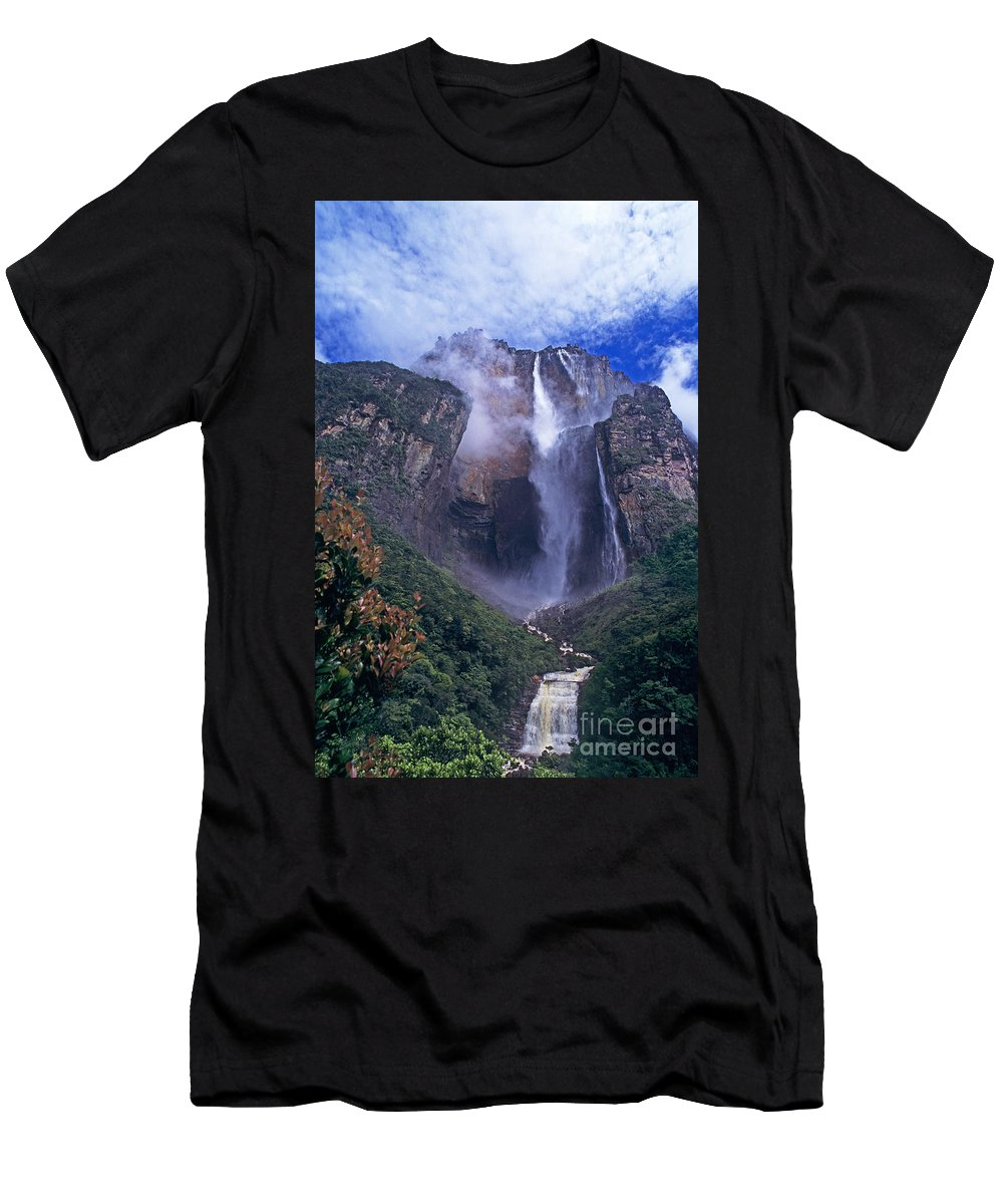 Venezuela Men's T-Shirt (Athletic Fit) featuring the photograph Angel Falls In Canaima National Park Venezuela by Dave Welling