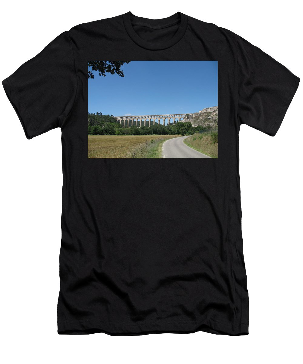 Aqueduct Men's T-Shirt (Athletic Fit) featuring the photograph Aqueduct Roquefavour by Christiane Schulze Art And Photography