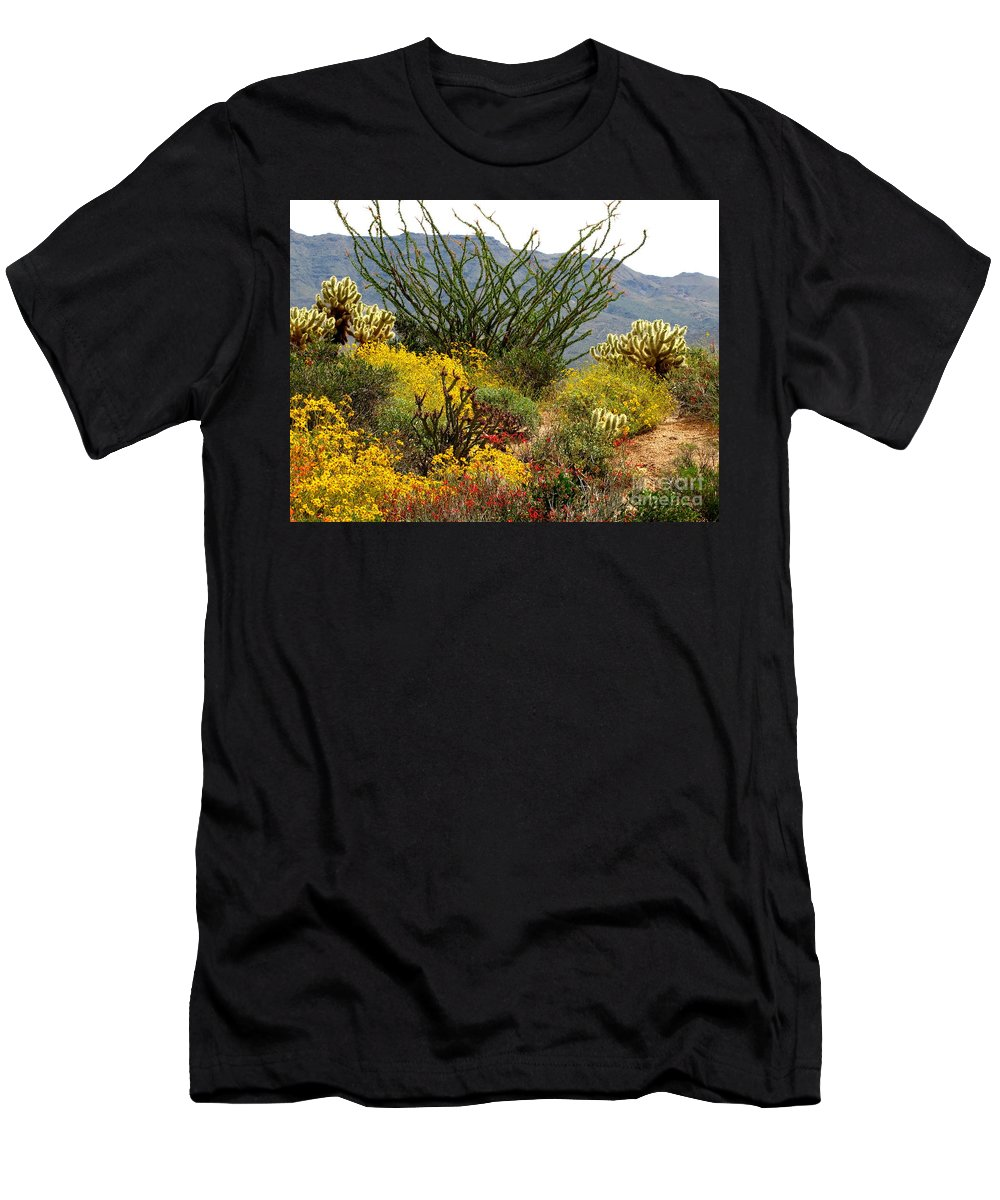 Cactus Men's T-Shirt (Athletic Fit) featuring the photograph Arizona Springtime by Marilyn Smith