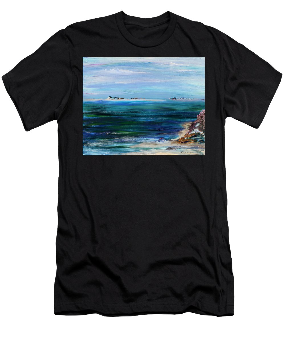 Barrier Islands Men's T-Shirt (Athletic Fit) featuring the painting Barrier Islands by Regina Valluzzi
