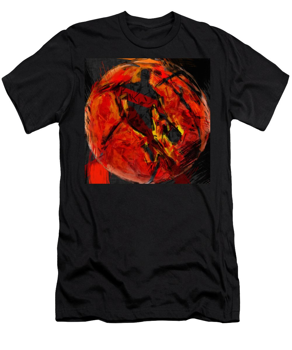 Basketball Men's T-Shirt (Athletic Fit) featuring the digital art Basketball Abstract by David G Paul