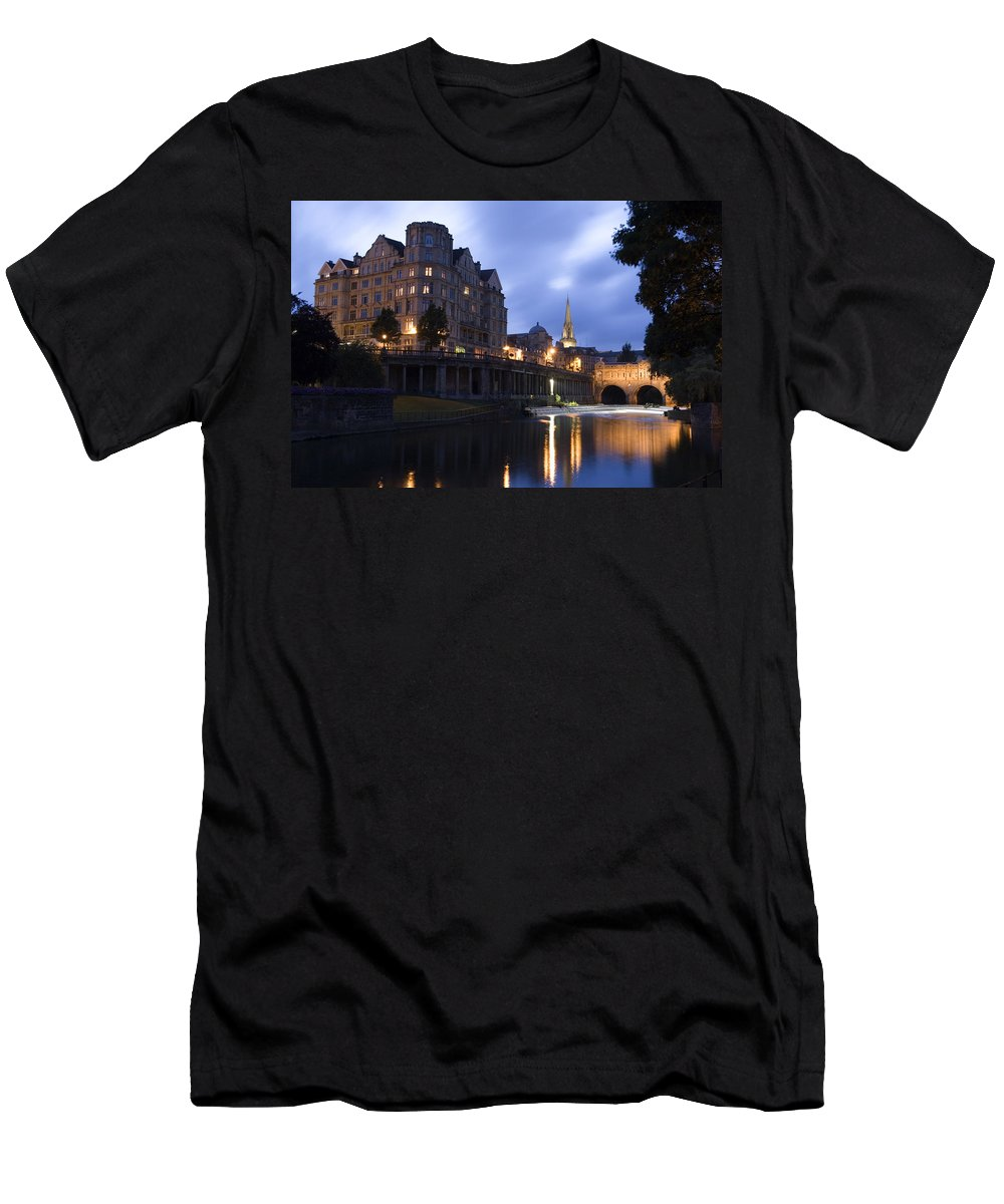 Bath Men's T-Shirt (Athletic Fit) featuring the photograph Bath City Spa Viewed Over The River Avon At Night by Mal Bray