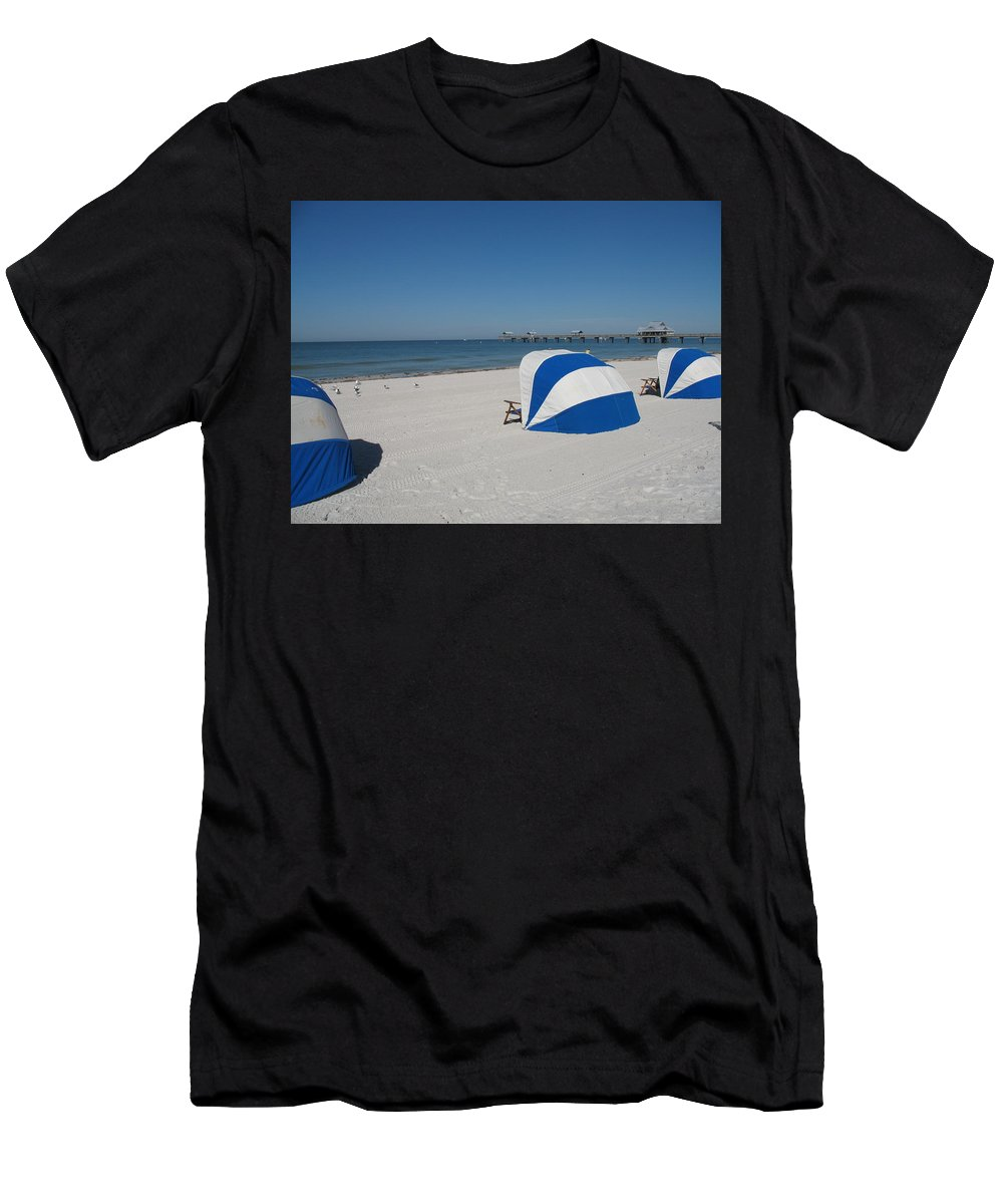 Beach Men's T-Shirt (Athletic Fit) featuring the photograph Beach With Beachchairs by Christiane Schulze Art And Photography