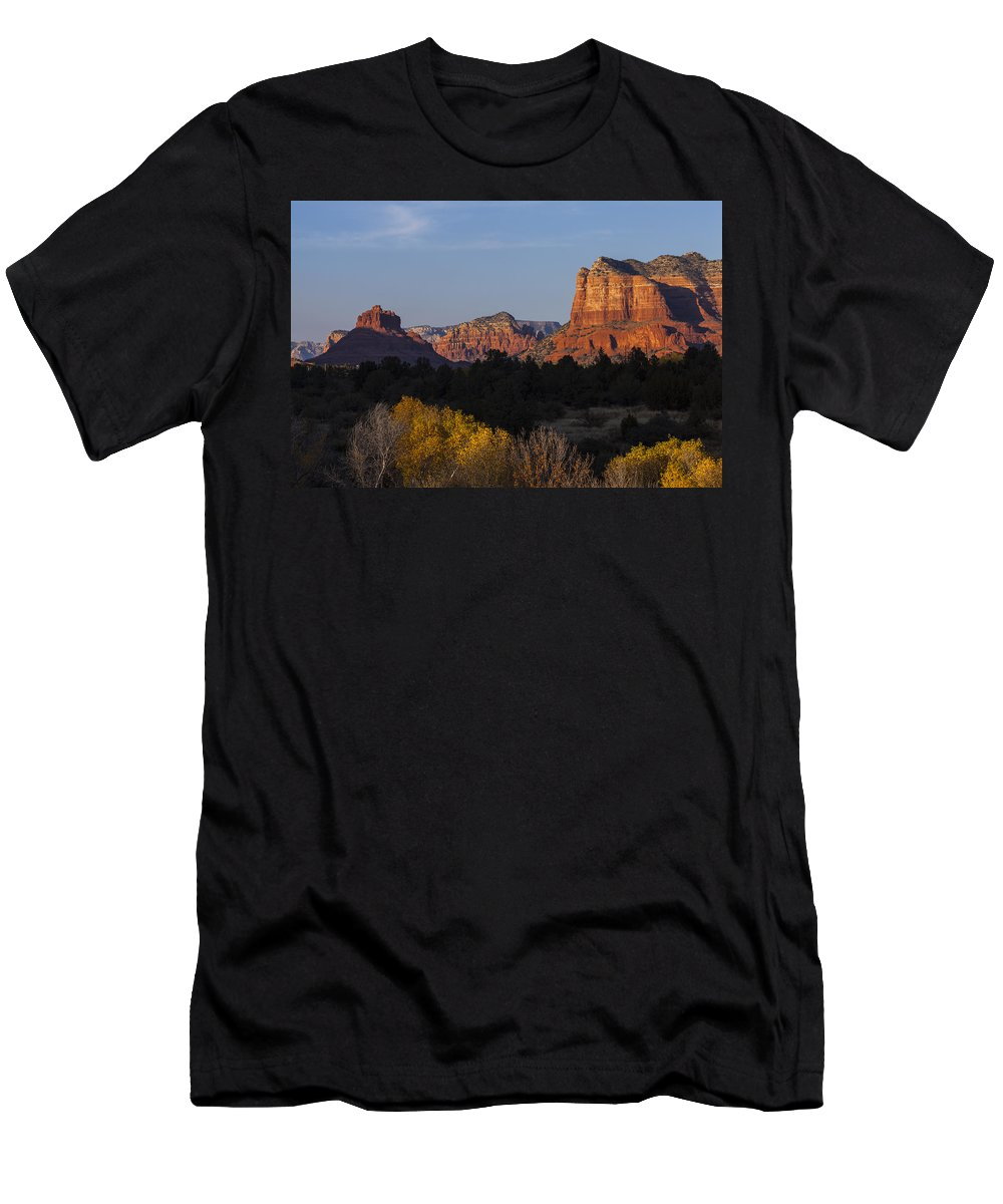 Arizona Men's T-Shirt (Athletic Fit) featuring the photograph Bell Rock And Courthouse Butte by Ed Gleichman