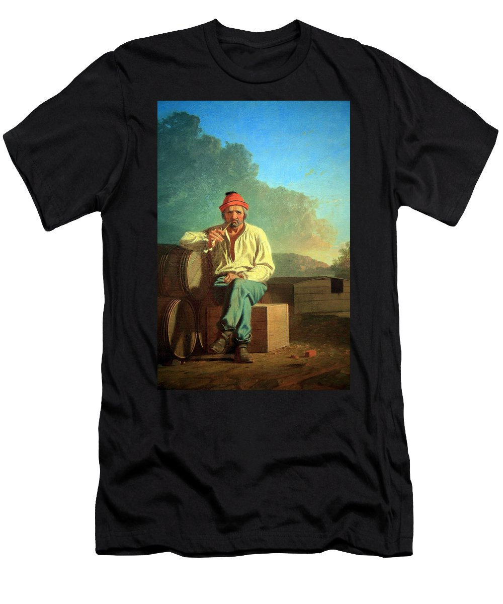Mississippi Men's T-Shirt (Athletic Fit) featuring the photograph Bingham's Mississippi Boatman by Cora Wandel