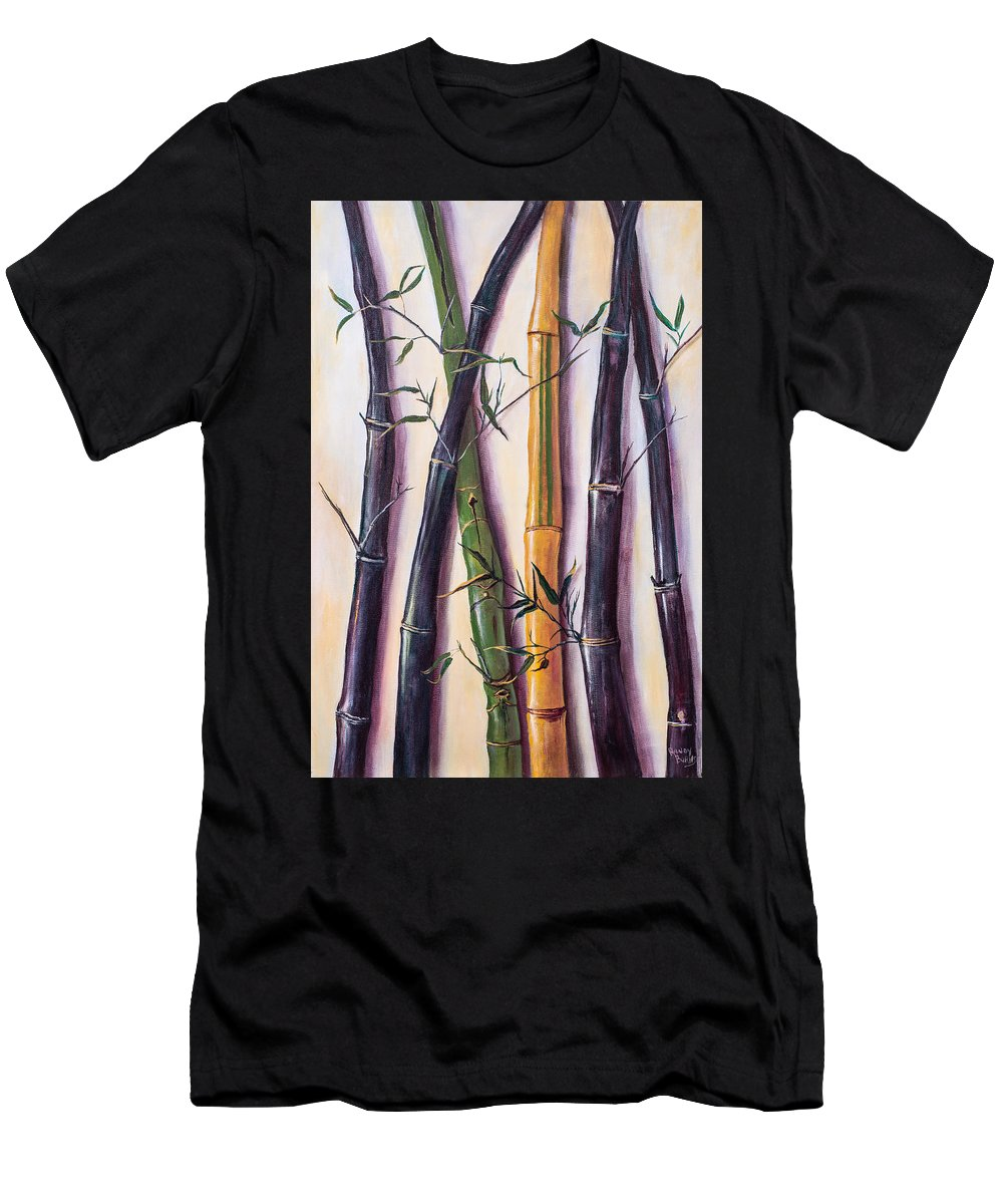 Bamboo Men's T-Shirt (Athletic Fit) featuring the painting Black Bamboo by Randy Burns