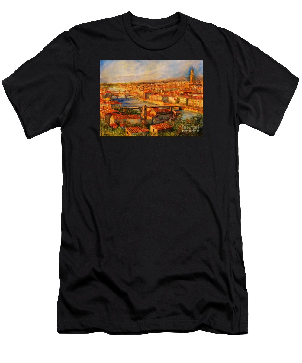 Bridges Of Florence T-Shirt featuring the painting Bridges Of Florence by Dagmar Helbig
