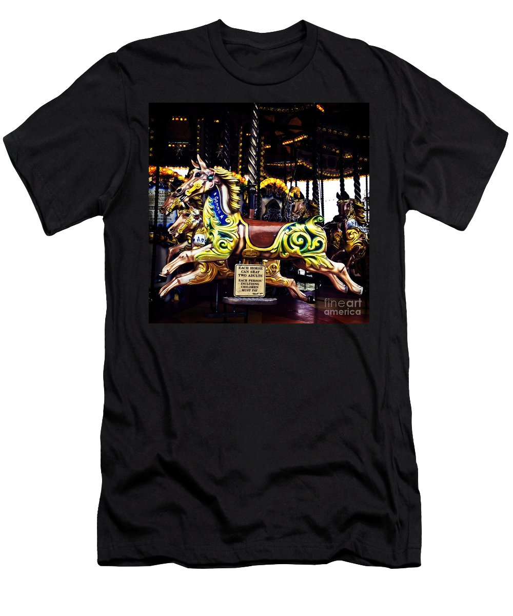 Carousel Horses Men's T-Shirt (Athletic Fit) featuring the photograph Carousel Horses by Steve Purnell
