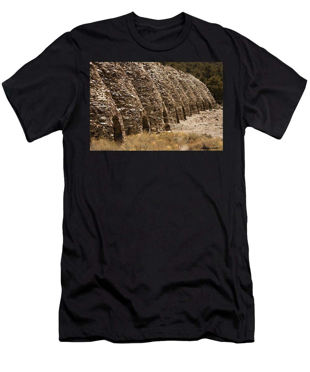Landscape Men's T-Shirt (Athletic Fit) featuring the photograph Death Valley Charcoal Kilns by Stephanie Salter
