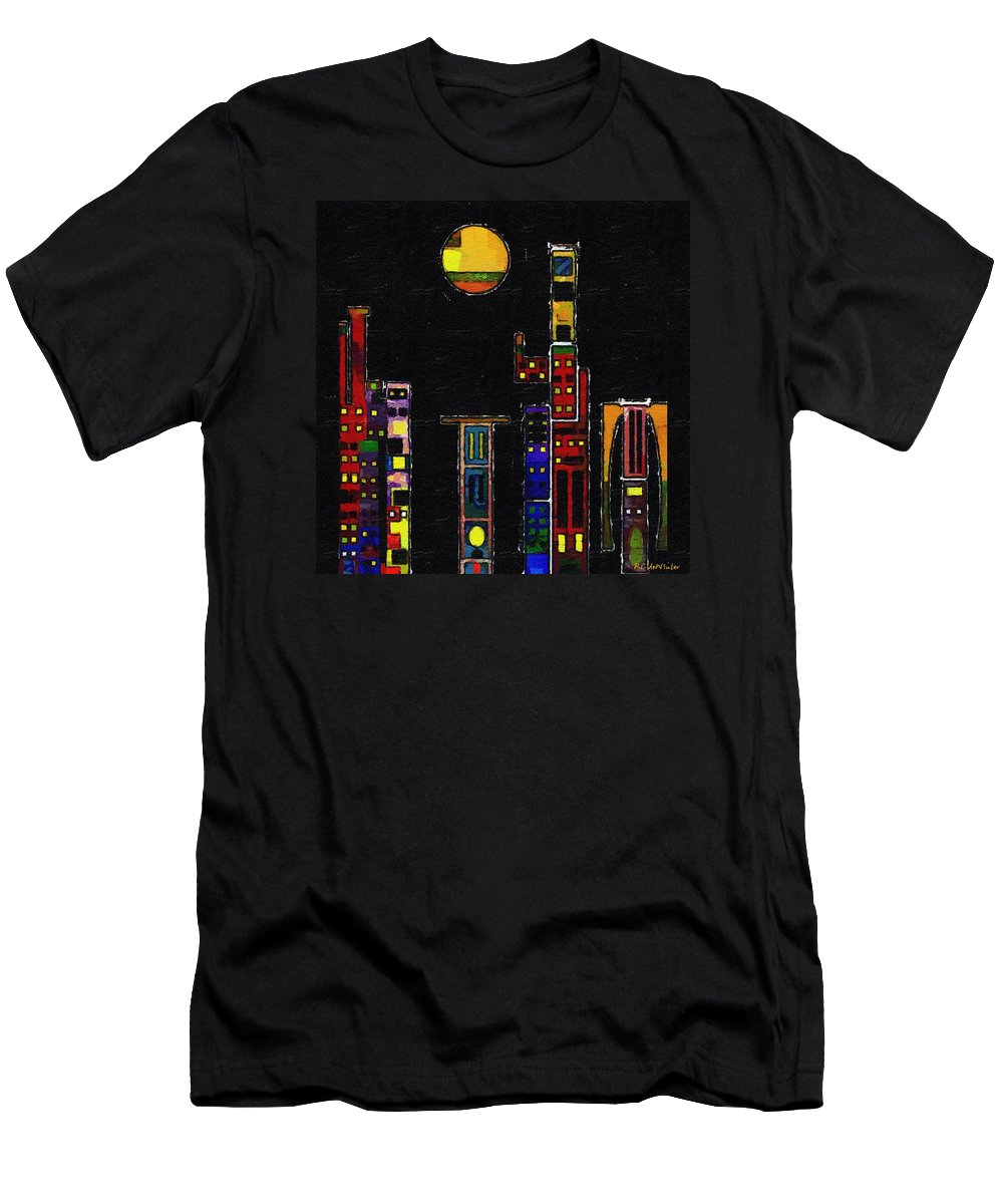 City Men's T-Shirt (Athletic Fit) featuring the painting Chinatown by RC DeWinter