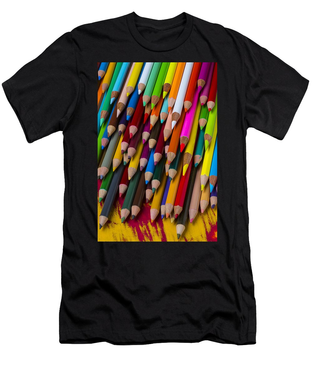 Colored Men's T-Shirt (Athletic Fit) featuring the photograph Colored Pencils by Garry Gay