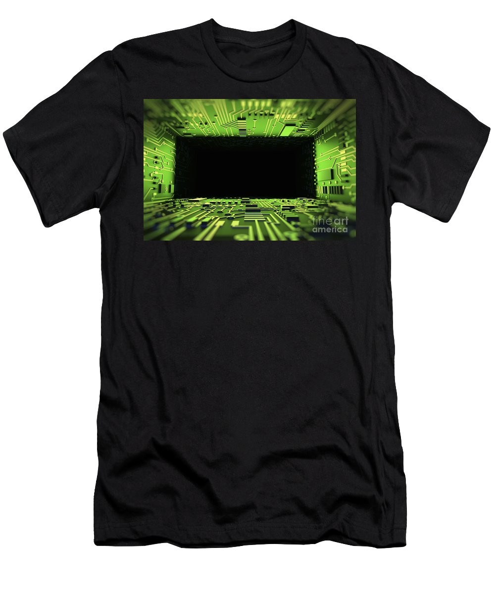 Information Transfer Men's T-Shirt (Athletic Fit) featuring the photograph Digital Tunnel by Science Picture Co