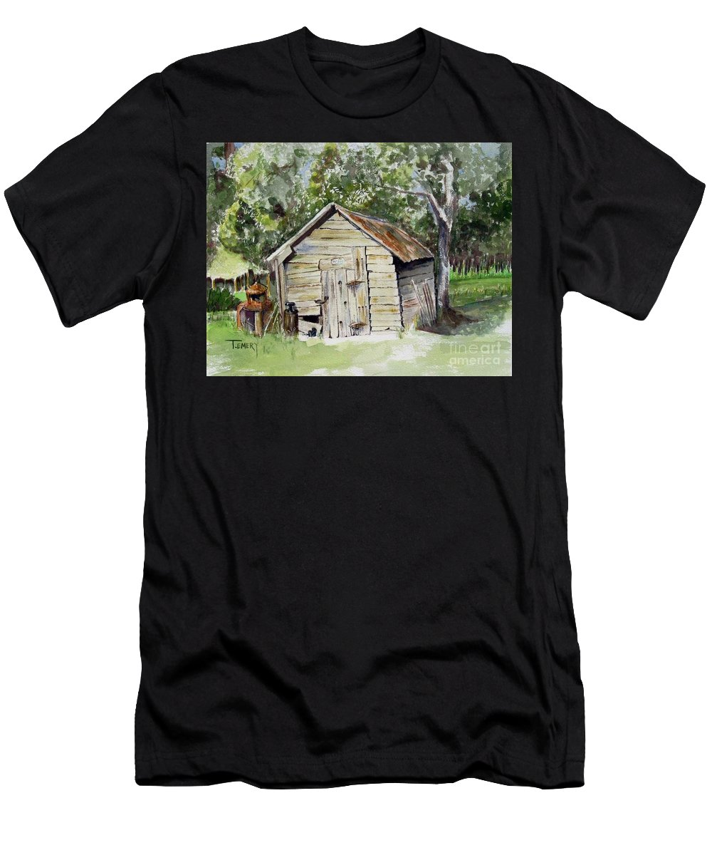 Barn Men's T-Shirt (Athletic Fit) featuring the painting Done Farmin' by Trish Emery
