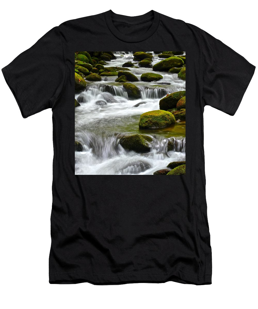 Smoky Men's T-Shirt (Athletic Fit) featuring the photograph Falling Water by Frozen in Time Fine Art Photography