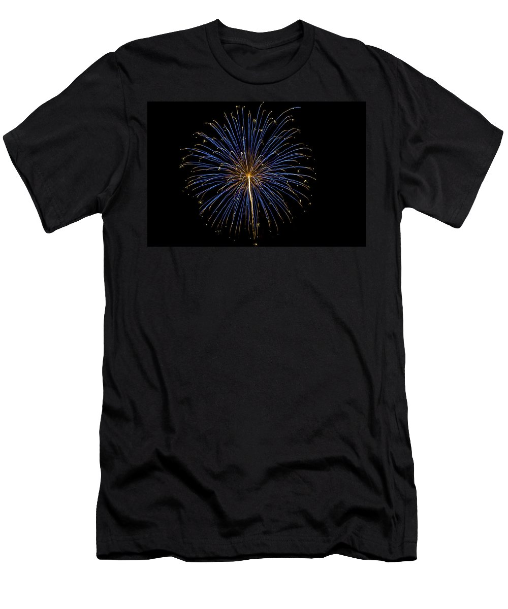 Colors Men's T-Shirt (Athletic Fit) featuring the photograph Fireworks Bursts Colors And Shapes by SC Heffner