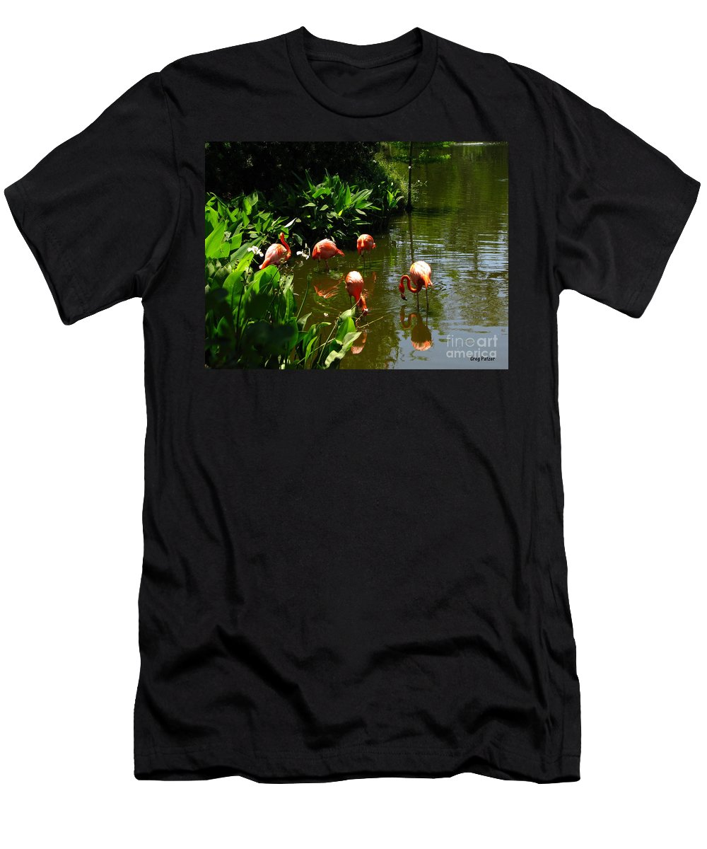 Flamingos Men's T-Shirt (Athletic Fit) featuring the photograph Flamingos by Greg Patzer