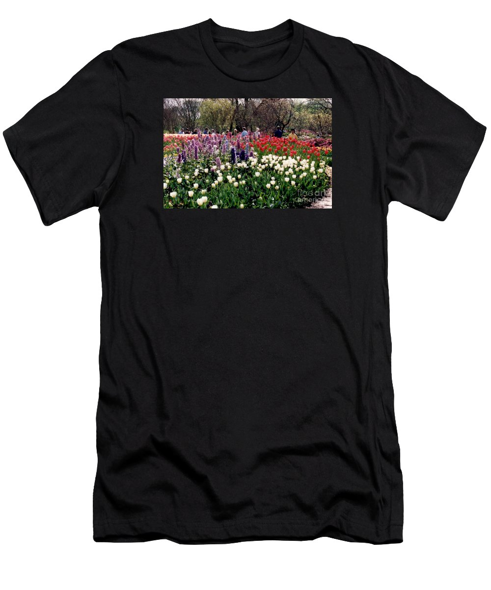 Tulips Men's T-Shirt (Athletic Fit) featuring the photograph Flower Garden by Ruth Housley