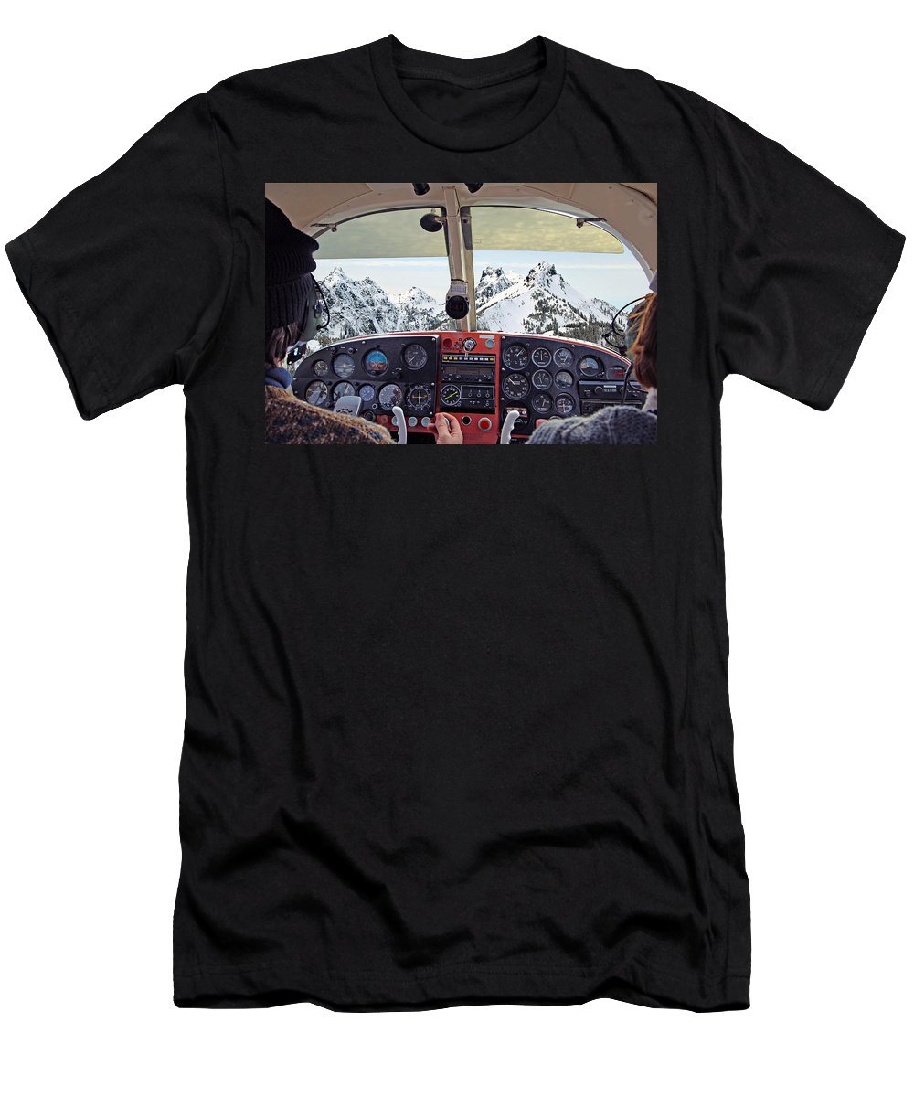 Aircraft Men's T-Shirt (Athletic Fit) featuring the photograph Flying by Paul Fell
