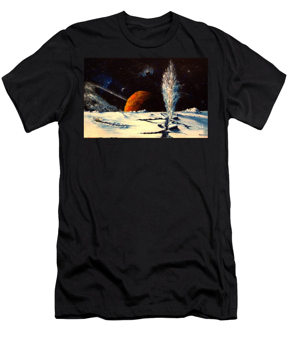 Landscape. Geyser Men's T-Shirt (Athletic Fit) featuring the painting Frozen Geyser by Murphy Elliott