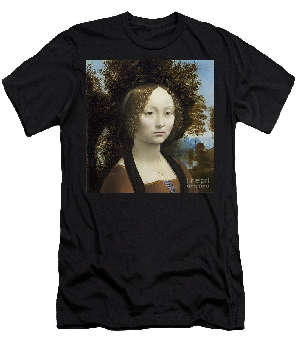 Portrait; Female; Nobility; Aristocrat; Florence; Renaissance Men's T-Shirt (Athletic Fit) featuring the painting Ginevra De Benci by Leonardo Da Vinci