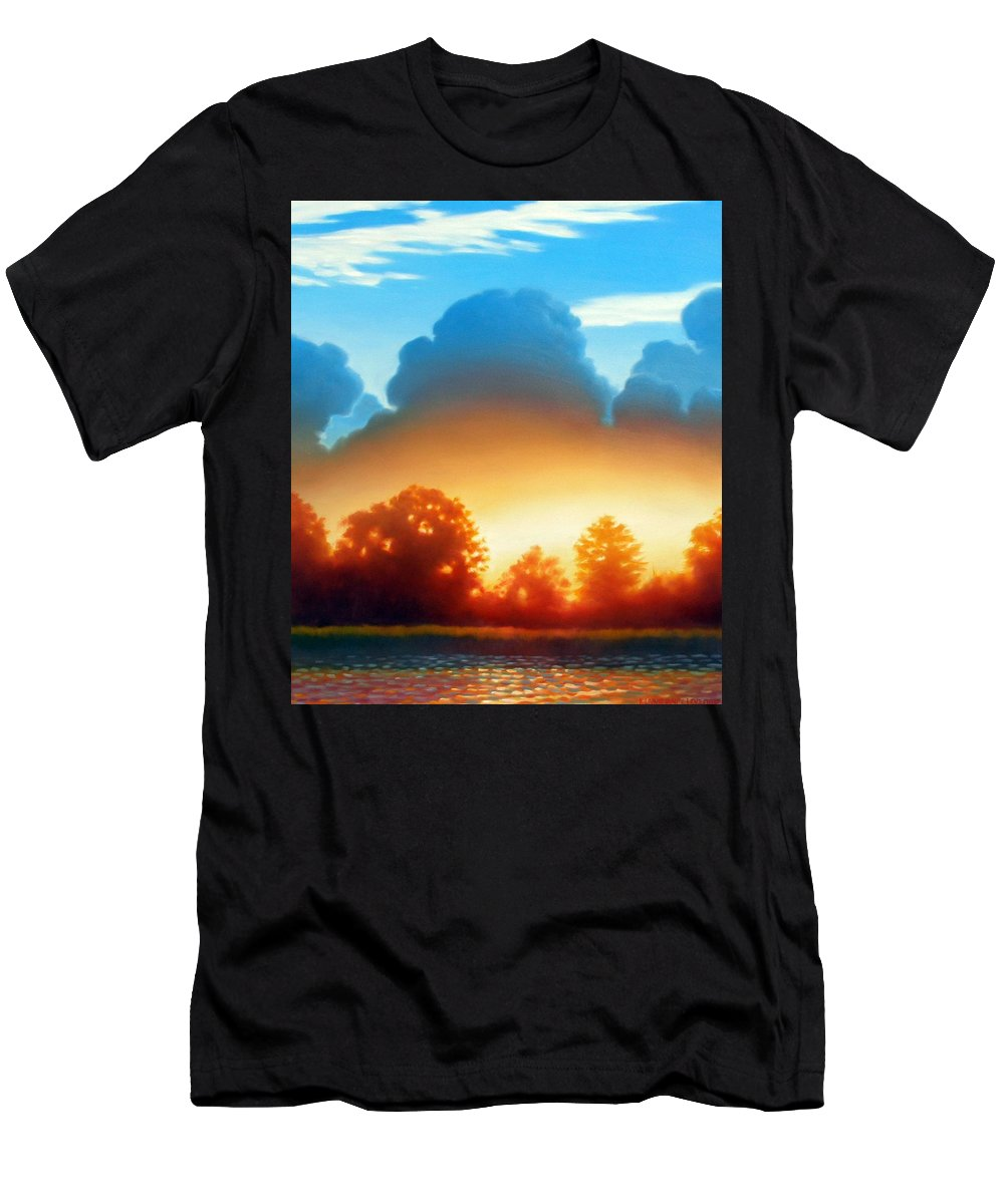 Sunset Men's T-Shirt (Athletic Fit) featuring the painting Glowing by Kevin Lawrence Leveque