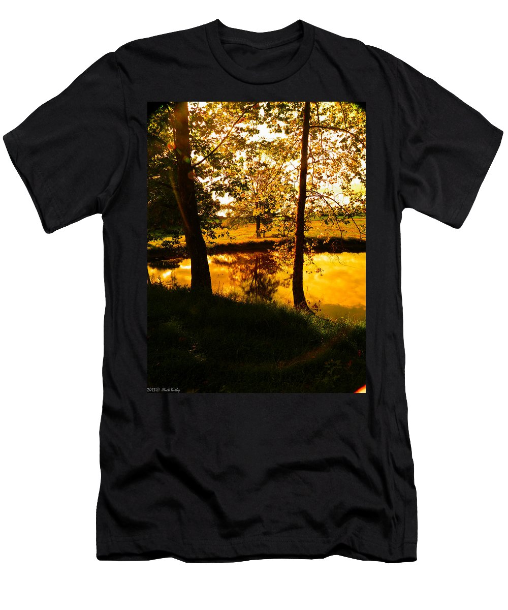 Pond Men's T-Shirt (Athletic Fit) featuring the photograph Golden Pond 3 by Nick Kirby