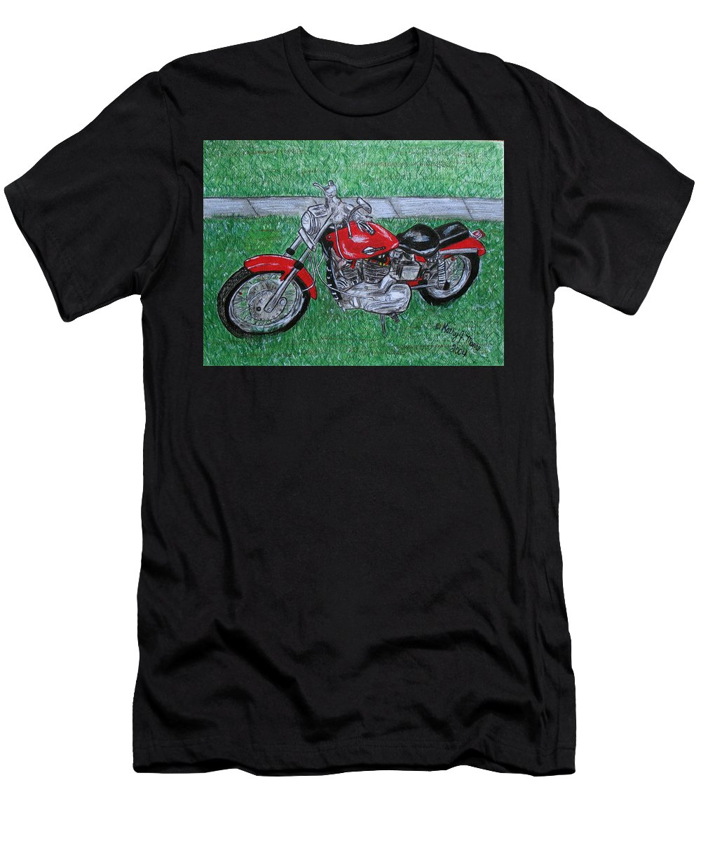 Harley Men's T-Shirt (Athletic Fit) featuring the painting Harley Red Sportster Motorcycle by Kathy Marrs Chandler